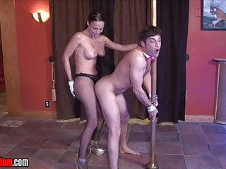 Male Stripper Chained to a Pole and Fucked by His Lady Boss