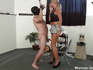 Femdom strapon Mistresses spank and torment male slaves