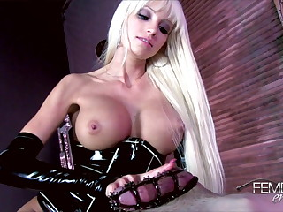 Beautiful young latex mistress teases cock