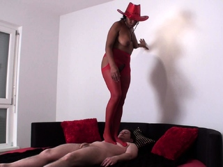 wild angel milf trample Bobby in red body