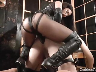 Crazy mistress and her bound slave