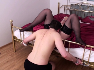 handcuffed sexslave for licking on start