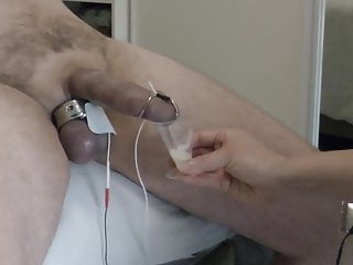 Real woman milks my husband with e-stim