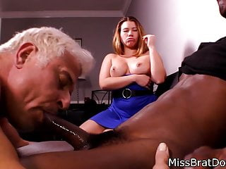 Bisexual Husband Sucks Black Cock for Femdom Wife