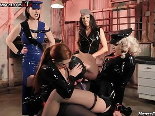 4 Mistress gang bang of helpless horny male slave