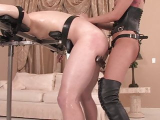 Hot mistress fucking slave in the ass