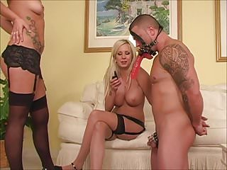 2 Mistress' playing with chastity Slave