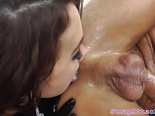 Dominant girlfriend pegs subs asshole