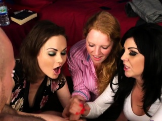 Clothed cfnm babes tug