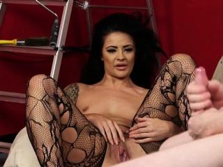 Milf voyeur instructing tugging submissive