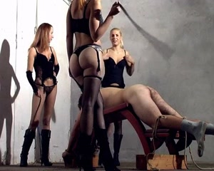 Long whipping and caning by 3 hot mistress (fun and pain)