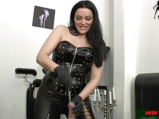 Tube and finger in cock painful from german domina torture