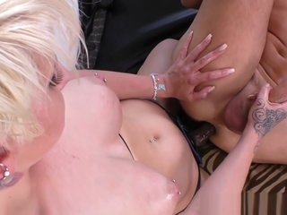 Busty domina humiliates her sub and pegs him