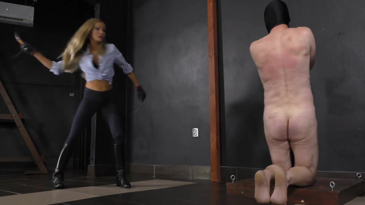 Cruel whipping from hot blonde mistress