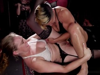 Lezdom and interracial orgy sex party
