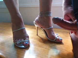 cumshot all over wife high heels mules sandals