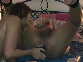 Milf fucks guy's ass with two fat dildos. Femdom, pegging