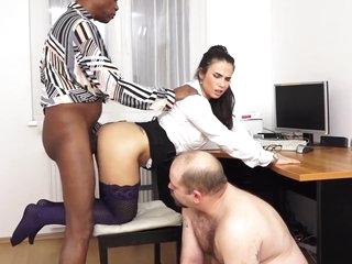 MISTRESS MIRA - XXXL LOAD CUM EATING CUCKOLD IN THE OFFICE!
