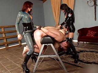 Goddess Deanna and Mistress Esmi with two Slaves in Cage !