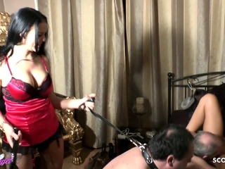 Two German BDSM Femdom Teen Seduce Old Man to Lick to Orgasm