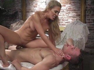 Blonde in tights anal fucks man sub