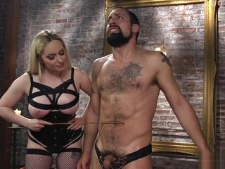 Huge tits mistress gag man slave