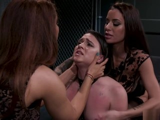 Dom lesbians spank and whip slave
