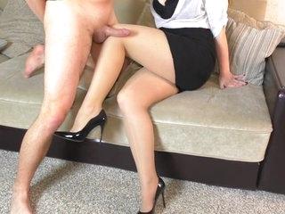 Teen School Teacher Femdom Handjob her student After school on High Heels