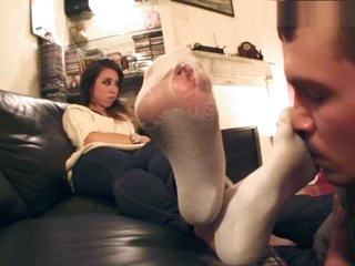 girls forces her boyfriend to sniff her socks