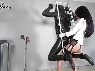 Mistress Fucks Suspended Slave