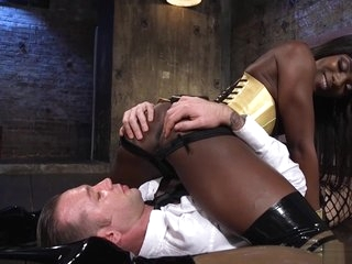 Ebony dominates man in female lingerie
