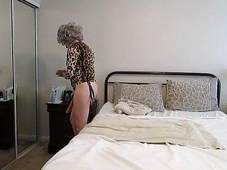 GrannyDianeB fucks gimp with a strapon...