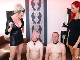 German Femdom Domination, spit and more, session with 2 slaves