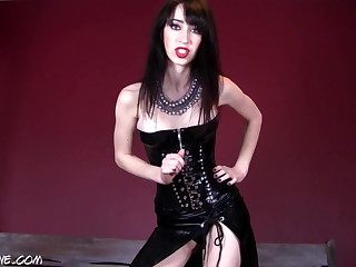 latex mistress commands to cum