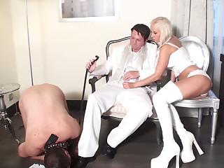 humiliator get handjob while joschi must lick his shoes