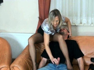 Sultry Blonde Milf In Pantyhose Delivers A Special Handjob