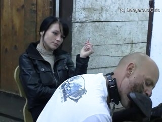 German Mistress Gets Her Muddy Boots And Soles Tongue Cleaned Then Tramples Him