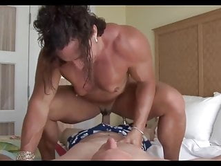 Female bodybuilder riding cock (lucky guy)