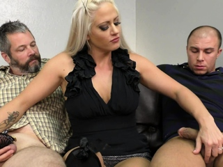 Cage slave have to watch while other dude get handjob