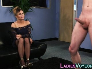 Cfnm blonde laughs at cock tugging loser