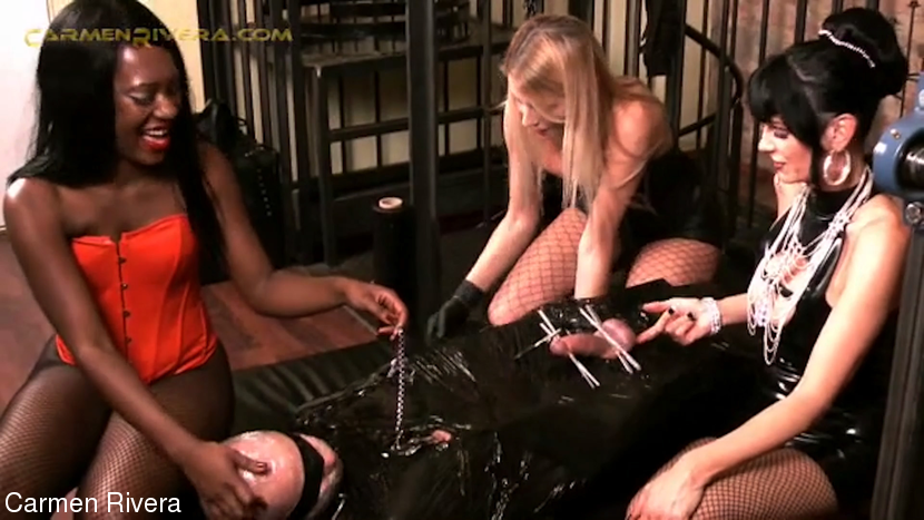 Lady Sahara & Carmen Rivera & Lady Natalie Black & Slave DD in Absolute Femdom (9 Of 9) - KINK