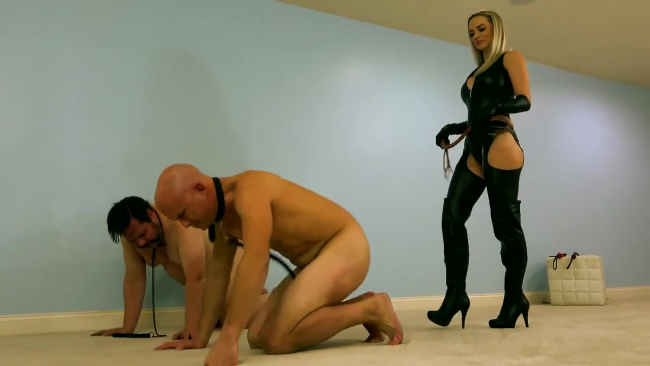 Hot Blonde Dominant Bitch Mistress Testing Several Whips On Her Slave Subjects