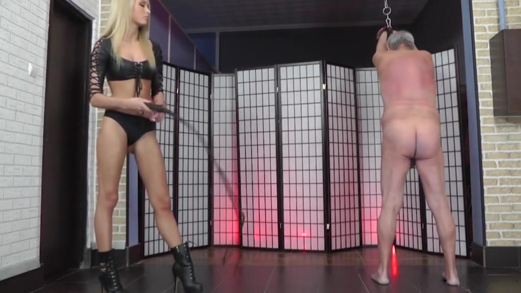 Hot Junior Blonde Mistress Whips Her Slave