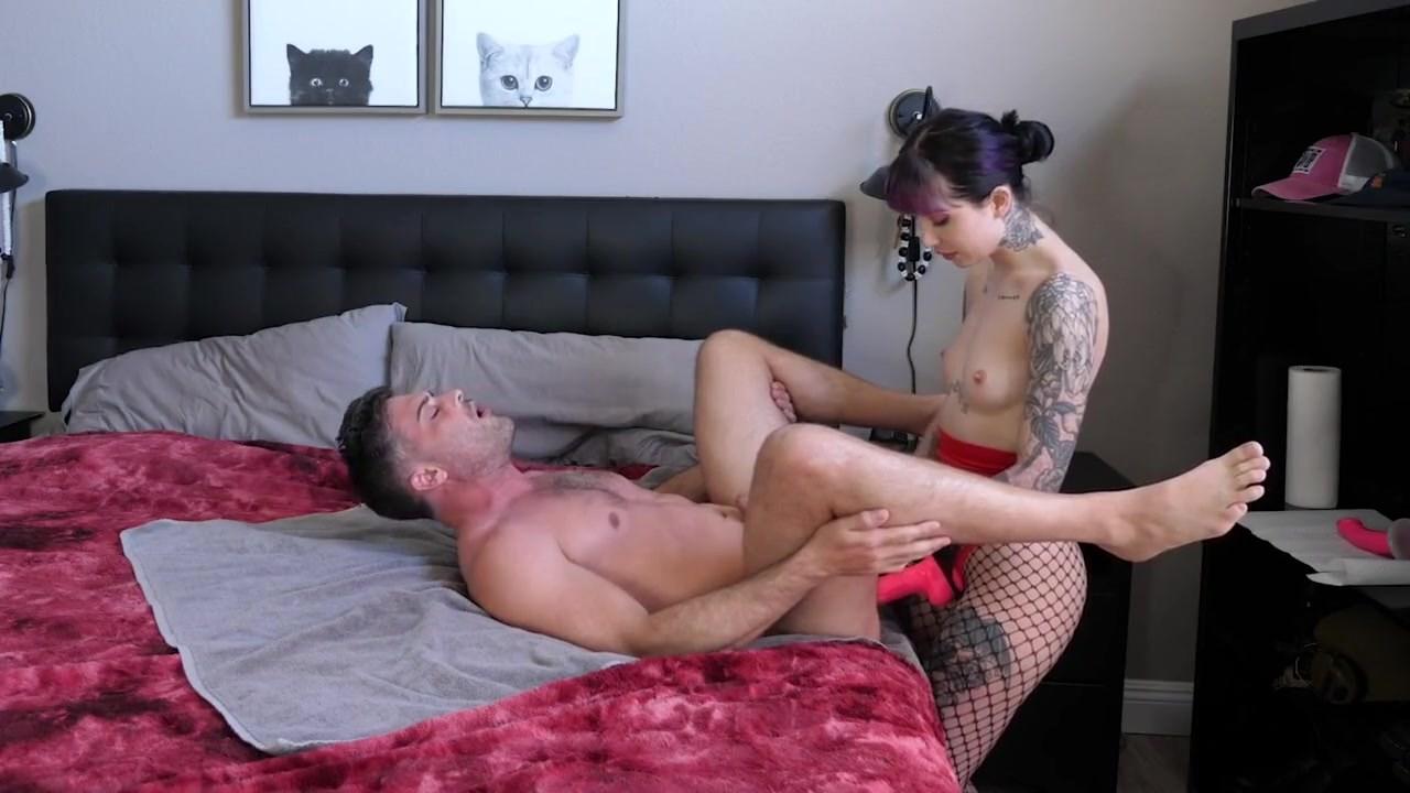 Lance Hart And Charlotte Sartre - Beautiful Goth Lady W Big Butt Fucks Husband With Big Strapon