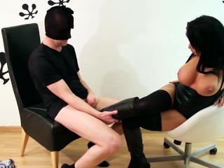 German Femdom MILF watch Guy Jerk on her High Heel Boots