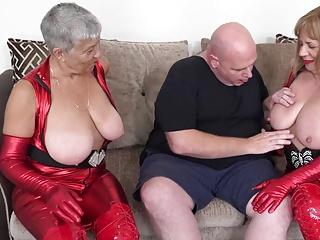 Busty latex grannies Speedybee and Savana fuck Fat Frank pt2
