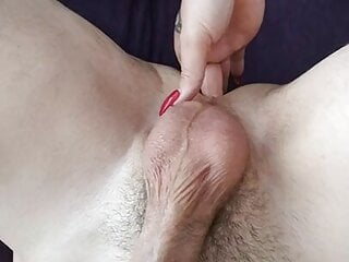 Femdom finger urethra prostate milking slave with strapon