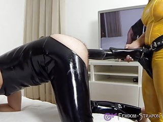 Mistress Angelina strapon fucks sub with cock-Dildo