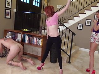 Two young mistresses breaking slave by whipping